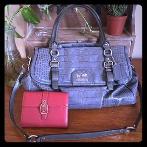 COACH Embossed Gray Leather Satchel H1173-18631